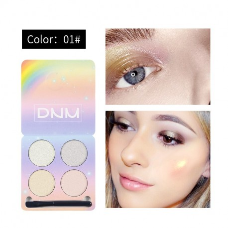 DNM four-color eye powder chameleon high-gloss matte glitter polarized eye shadow makeup set with brush