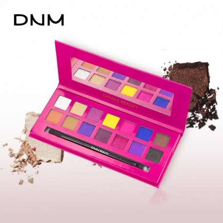 DNM high gloss 14 color eyeshadow pallete natural pearlescent color not easy to take off makeup with eye shadow brush cosmetic mirror make up palette